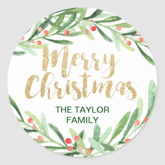 Holly Wreath Merry Christmas Classic Round Sticker