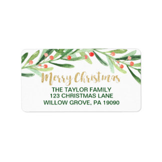 Holly Wreath Merry Christmas Label