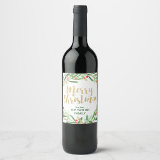 Holly Wreath Merry Christmas Wine Label