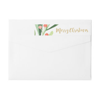 Holly Wreath Merry Christmas Wrap Around Label