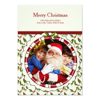 Holly Wreath Photo Holiday Card 13 Cm X 18 Cm Invitation Card
