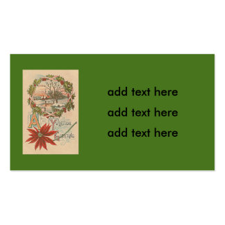 Holly Wreath Poinsettia Winter Cabin Yuletide Pack Of Standard Business Cards