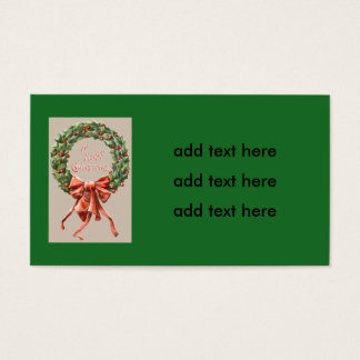 Holly Wreath Red Ribbon Merry Christmas
