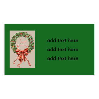 Holly Wreath Red Ribbon Merry Christmas Pack Of Standard Business Cards