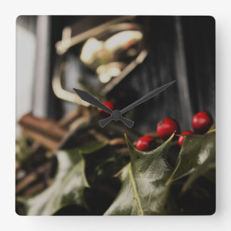 Holly Wreath Square Wall Clock