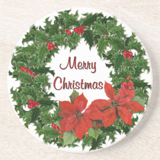 Holly Wreath Traditions Drink Coasters