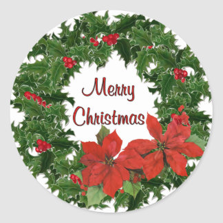 Holly Wreath Traditions Round Sticker
