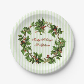 Holly Wreath Vintage Personalized Christmas Paper Plate