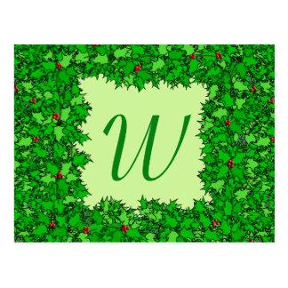 Holly Wreath with Monogram, Dark Green Postcard