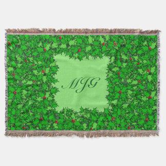Holly Wreath with Monogram, Dark Green Throw