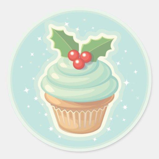 HollyDay Cupcake Round Sticker
