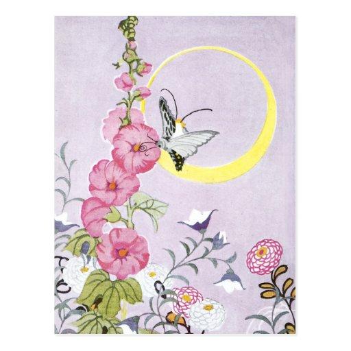 Hollyhock, Dahlia and Balloon Flowers Post Cards