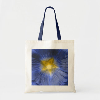 Hollyhock Flower Beautiful Blue Budget Tote Bag