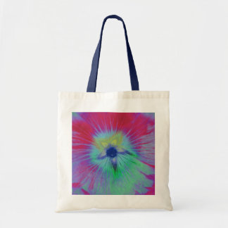 Hollyhock Flower Bright lights Budget Tote Bag