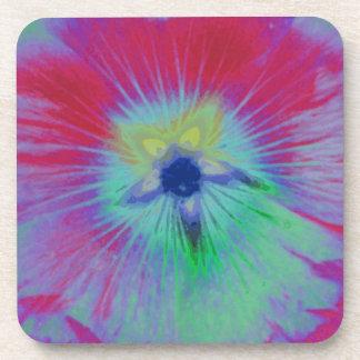 Hollyhock Flower Bright Lights Cork Coaster