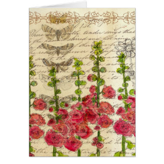 Hollyhock Victorian Flower Collage Note Card