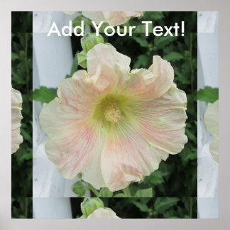 Hollyhock White Pretty Flower Poster