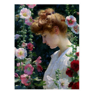 Hollyhocks and Sunlight by Charles Curran Postcard