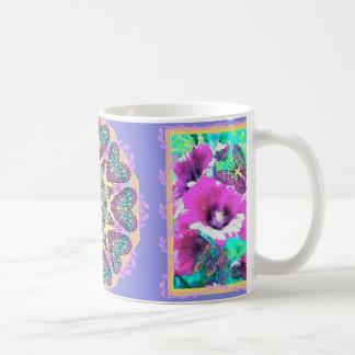 Hollyhocks & Blue Electric Art Coffee / Tea Mug