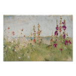 Hollyhocks by the Sea Posters