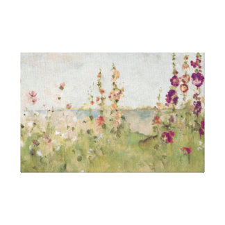 Hollyhocks by the Sea Stretched Canvas Print
