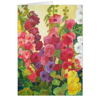 Hollyhocks Card
