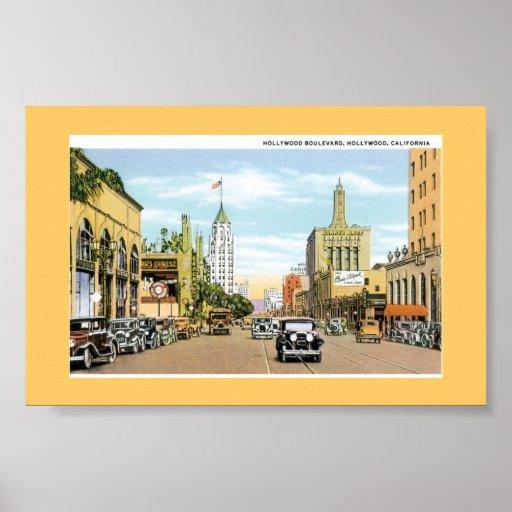 Hollywood Blvd.  Vintage Postcard Poster