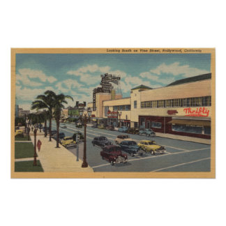 Hollywood, CALooking South on Vine Street View Poster