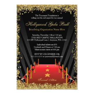 Hollywood Gala Ball Red Carpet Glitter Card