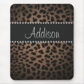 Hollywood Glam Rhinestone Leopard Bling Binder Mouse Pad