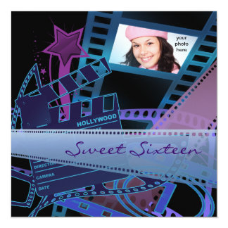 Hollywood Movie Star Sweet 16 Birthday Party 13 Cm X 13 Cm Square Invitation Card