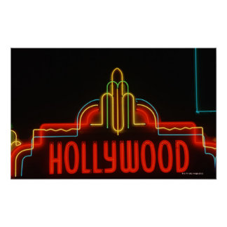 Hollywood neon sign, Los Angeles, California Poster