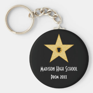Hollywood Nights Gold Star Prom Formal Favor Basic Round Button Key Ring