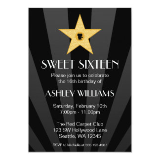 Hollywood Nights Gold Star Sweet 16 Birthday 13 Cm X 18 Cm Invitation Card