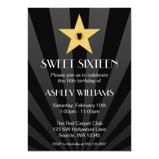 Hollywood Nights Gold Star Sweet 16 Birthday 4.5x6.25 Paper Invitation Card