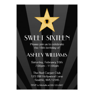 Hollywood Nights Gold Star Sweet 16 Birthday Custom Announcements