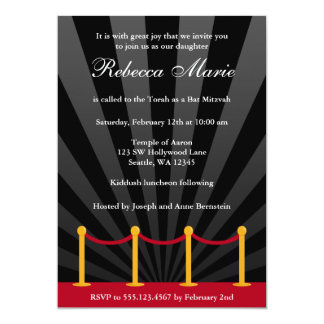 Hollywood Red Carpet Bat Mitzvah Invitation Custom Invites