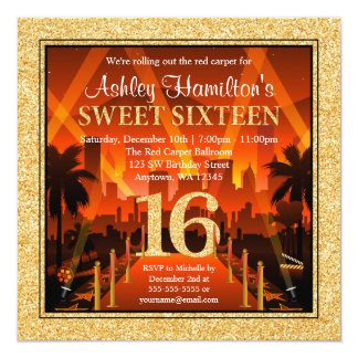Hollywood Red Carpet City Gold Glitter Sweet 16 Card