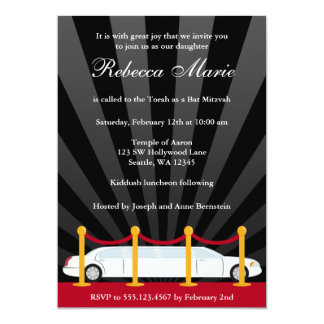 Hollywood Red Carpet Limo Bat Mitzvah Invitation