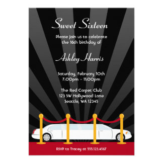 Hollywood Red Carpet Limo Sweet 16 Invitation Card