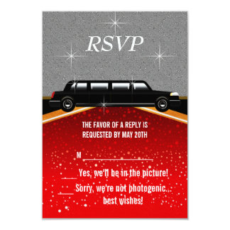 Hollywood Red Carpet RSVP Template 9 Cm X 13 Cm Invitation Card