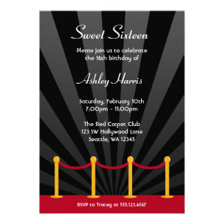 Hollywood Red Carpet Sweet 16 Birthday Party Invites