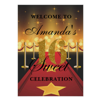 Hollywood Red Carpet Sweet 16 Welcome Poster