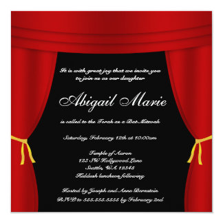 Hollywood Red Curtain Bat Mitzvah 5.25x5.25 Square Paper Invitation Card
