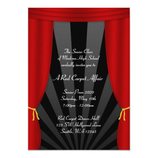 Hollywood Red Curtain Prom Formal Invitations