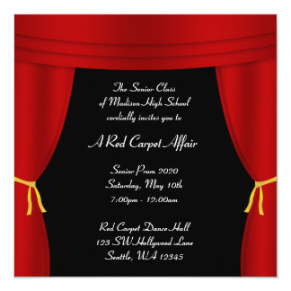 Hollywood Red Curtain Prom Formal Square 13 Cm X 13 Cm Square Invitation Card