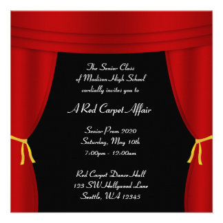 Hollywood Red Curtain Prom Formal Square Custom Announcements