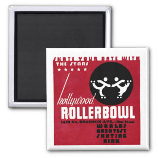 Hollywood Rollerbowl Square Magnet