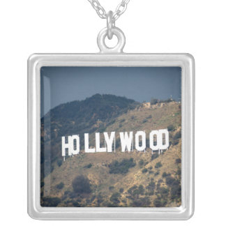 Hollywood Sign 2 Square Pendant Necklace