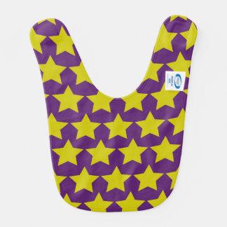 Hollywood star baby bib (purple & yellow)